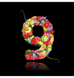 Number nine made from fruits vector