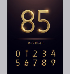 numbers alphabet golden metallic and effect vector image