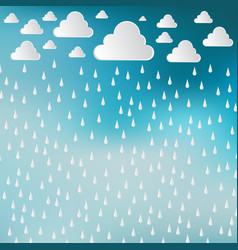 Paper cut white clouds and rain drops on blue sky vector