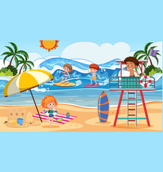 people at summer beach vector image