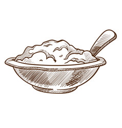 Porridge in bowl with spoon isolated sketch vector
