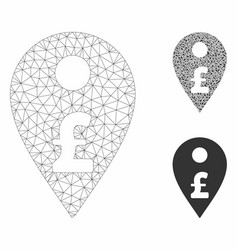 Pound map marker mesh wire frame model and vector