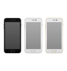 realistic smartphone icon set - black solver and vector image