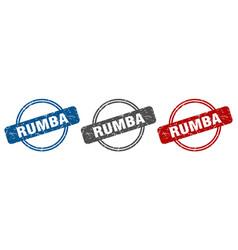 Rumba stamp rumba sign rumba label set vector