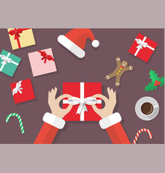 santa hand tied bow on gift box vector image
