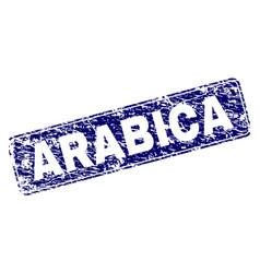 Scratched arabica framed rounded rectangle stamp vector