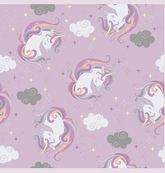 seamless pattern with unicorns heads and clouds vector image
