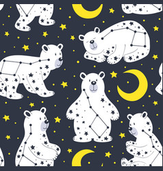 seamless pattern with white bear and constellation vector image