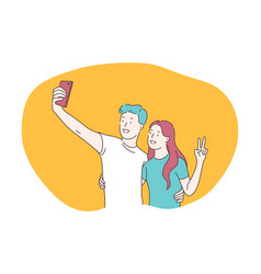 selfie smartphone photograph camera vector image