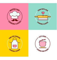 Set logo for cooking classes and courses vector