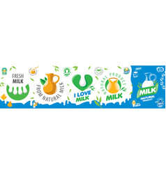 set logos dairy products and milk vector image