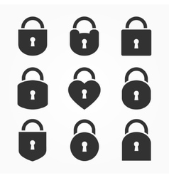 Set of Lock Icon Lock Icon Lock Icon Flat vector
