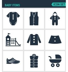 Set of modern icons Baby items clothes vector image