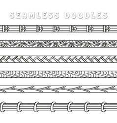Set of seamless abstract doodle elements patterns vector image