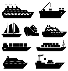 Ship icon set vector image