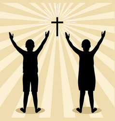 Silhouette children turned to god with prayer vector