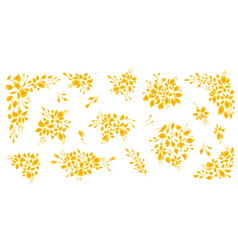 Silhouette set floral flat style vector
