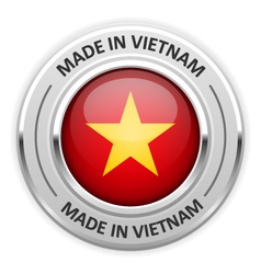 Silver medal Made in Vietnam with flag vector image