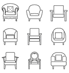 Sofa Icons Set Black Line vector image