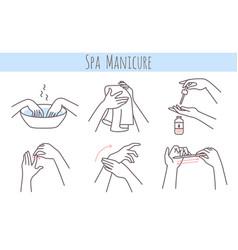 Spa manicure treatment steps cleanse soak vector