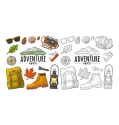travel set for outdoor recreation vintage vector image