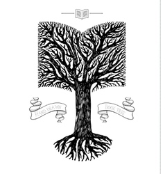 Tree crown in the shape of book vector