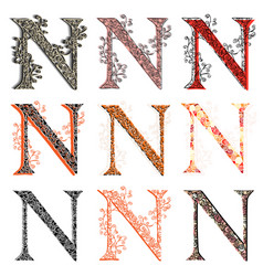 various combination fishnet letter n vector image