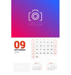 Wall calendar planner template for september 2019 vector