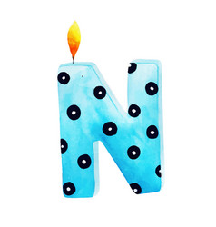 Watercolor happy birthday letter n candle vector