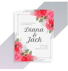 wedding invitation template with beautiful floral vector image