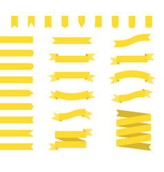 Yellow ribbons set ribbon banners flat vector