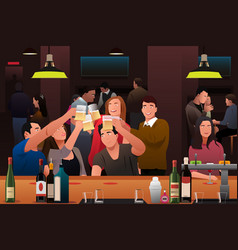 Young people having fun in a bar vector