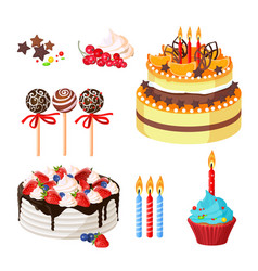 birthday cakes and attributes colorful poster on vector image vector image