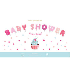girl baby shower cute template party invitation vector image