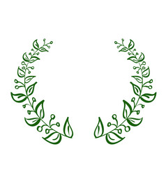 green wreath frame of leaves on white background vector image