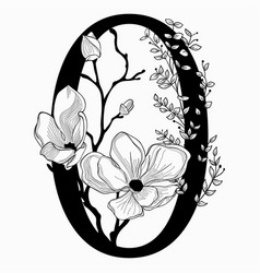 hand drawn floral zero monogram and logo vector image