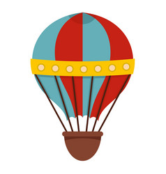red and blue hot air striped balloon icon isolated vector image