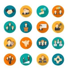 Teamwork flat buttons vector image