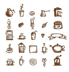 Coffee sketch design elements vector image
