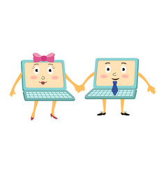 couple of funny cartoon laptop computer characters vector image