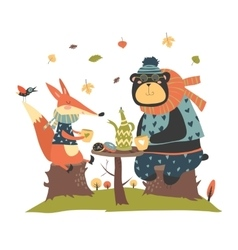 Cute fox with bear drinking tea in the autumn vector image vector image