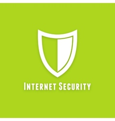 Internet security flat icon on green background vector image vector image