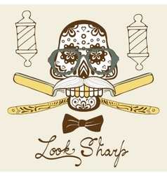 Look sharp Skull with mustache and hat Retro vector image vector image