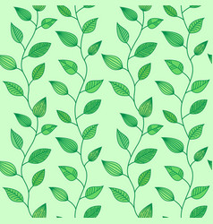 seamless pattern with decorative leaves summer vector image vector image