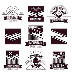 Snowboard and mountains emblems vector image