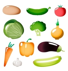 Stylized Simple Plastic Vegetables Icons vector image vector image