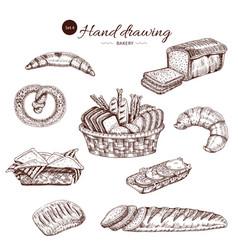 bakery monochrome hand drawn set vector image vector image