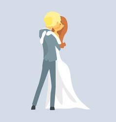 Beatuful bridal couple kissing romantic couple vector