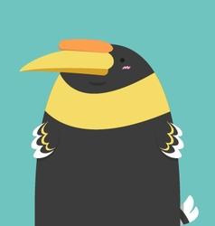 cute big fat hornbill bird vector image vector image