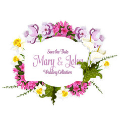 floral bouquet of flowers for wedding card vector image vector image